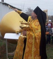 Освящение куполов и крестов в станице Кременской