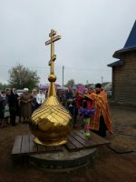 Освящение креста на купол храма